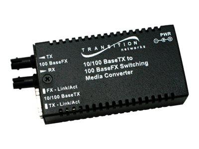 Stand-Alone Mini 10/100 Bridging - Fiber media converter - 100Mb LAN - 10Base-T 100Base-FX 100Base-TX - RJ-45 / ST multi-mode - up to 1.2 miles - 1300 nm
