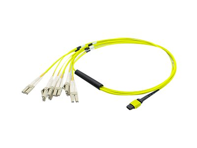 Patch cable - LC single-mode (M) to MPO single-mode (F) - 98 ft - fiber optic - 9 / 125 micron - OS1 - halogen-free - yellow