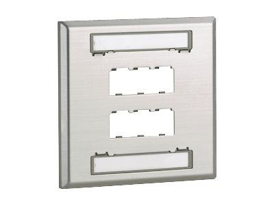 MINI-COM Stainless Steel Faceplate - Faceplate - stainless steel - 2-gang - 6 ports