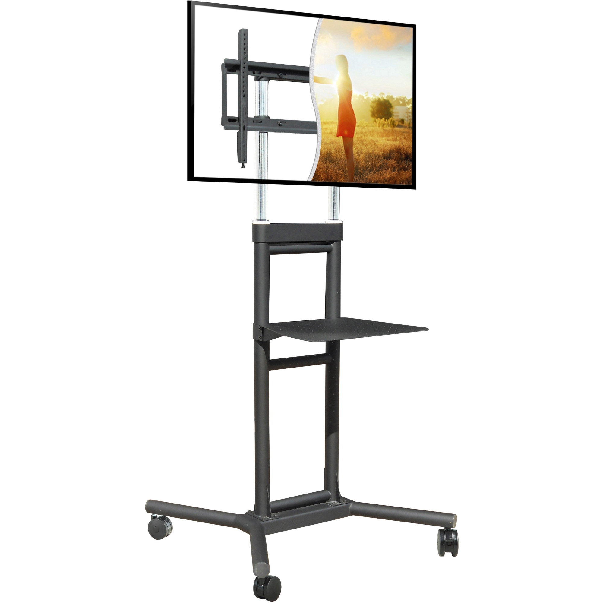 MOBILE TV CART 32-70IN 132 LBS ADJ HEIGHT WITH SHELF LIFETIME