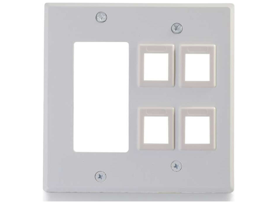 DECORA COMPATIBLE CUTOUT WITH FOUR KEYSTONE DOUBLE GANG WALL PLATE - WHITE
