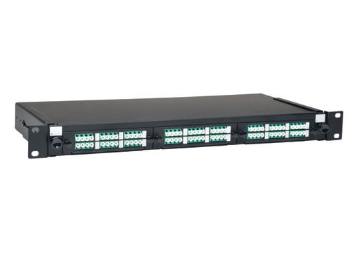 36-Port LC/LC Rackmount Fiber Enclosure Feed Through Patch Panel 1U - Patch panel - rack mountable - LC x 36 - black - 1U - 19 inch