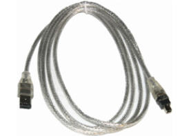 6-Pin to 4-Pin 5.5feet IEEE 1394a 400Mbps Firewire Cable Silver Retail