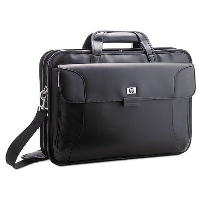 Executive Leather Case - Deluxe black leather with nylon twill case