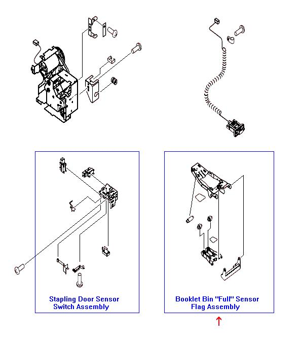 Booklet bin 'full' sensor flag assembly - Semi triangular shaped arm with small rollers - Detects when the booklet bin has reached capacity