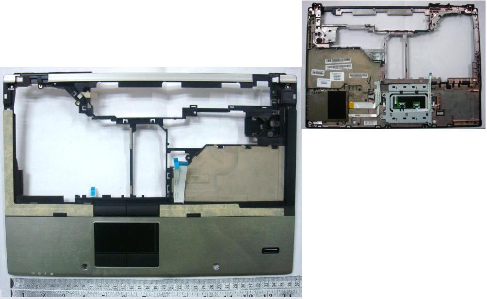 Upper CPU cover (chassis top) - With integrated Touchpad smart card reader and fingerprint reader - For use with the HP EliteBook 8440p