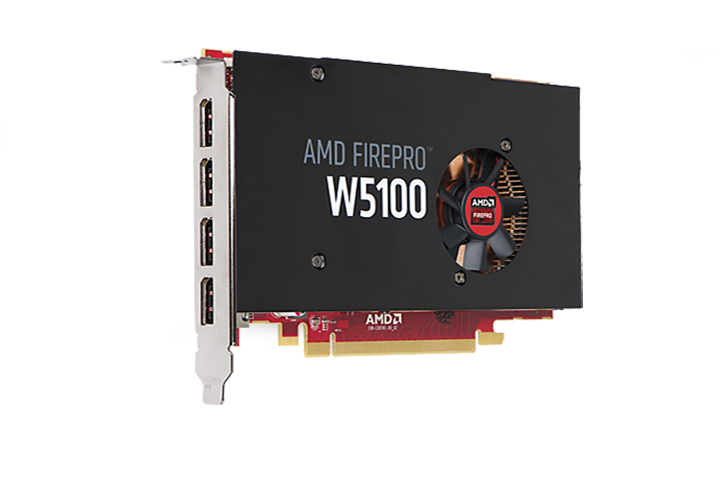 AMD Firepro W5100 with 4GB GDDR5 memory PCIe 3.0 compliant x16 (dual-slot) DisplayPort 1.2a support video card