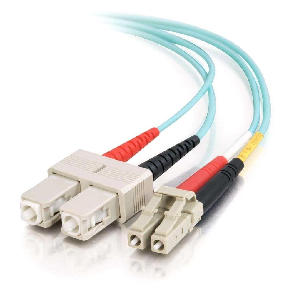 30m LC-SC 10Gb 50/125 OM3 Duplex Multimode PVC Fiber Optic Cable (USA-Made) - Aqua - Fiber Optic for Network Device - LC Male - SC Male - 10Gb - 50/125 - Duplex Multimode - OM3 - 10GBase-SR 10GBase-LRM - USA-Made - 30m - Aqua