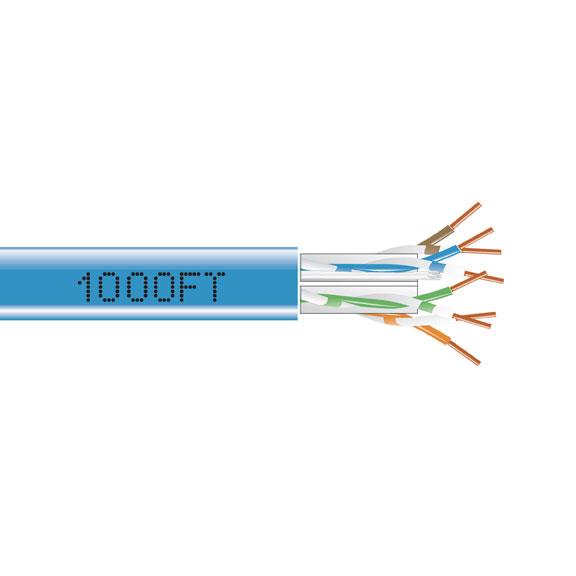 1000FT CAT6A 650MHZ SOLID CABLE UTP CMP BLUE