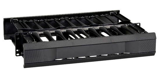 HORIZONTAL 19IN IT RACKMOUNT CA BLE MANAGER 2U DOUBLE-SIDED BLACK