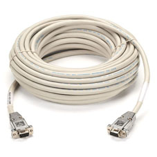 RS232 SHIELDED NULL MODEM CABLE with METAL HOODS DB9F/F 15FT.
