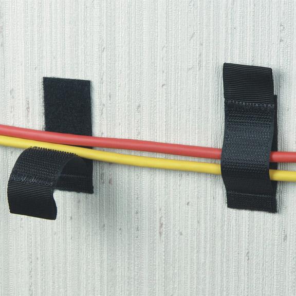 10-PACK BLACK 1INX2.5IN HOOK AN D LOOP CABLE HANGER