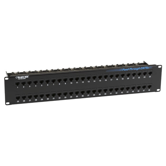 Box Feed-Through 48 Port Cat 5e Network Patch Panel - 48 x RJ-45