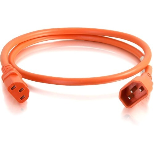 6ft 14AWG Power Cord (IEC320C14 to IEC320C13) - Orange - Power cable - IEC 60320 C14 to IEC 60320 C13 - 250 V - 15 A - 0.7 in - orange