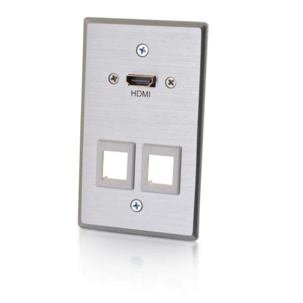 RAPIDRUN HDMI SINGLE GANG WALL PLATE TRANSMITTER WITH TWO KEYSTONES - ALUMINUM