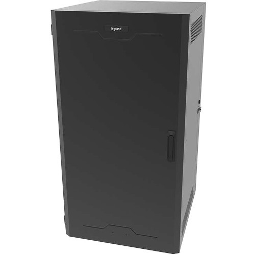 Legrand 18RU Swing-Out Wall-Mount Cabinet with Solid Door-Black-TAA - Cabinet - wall mountable - black - 18U - 23.5 inch