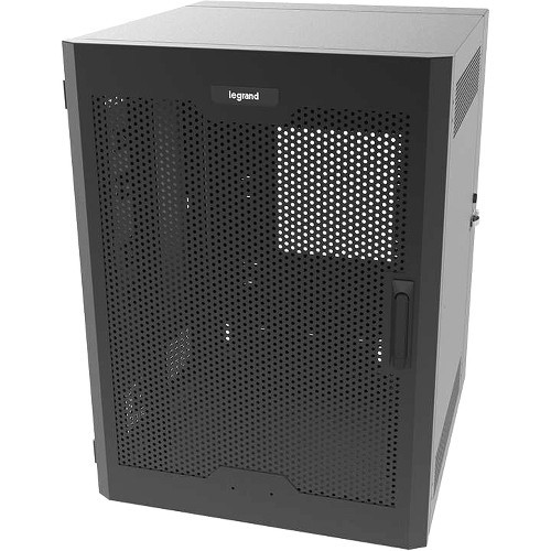 Legrand 26RU Swing-Out Wall-Mount Cabinet with Perforated Door-Black-TAA - Cabinet - 2-post - wall mountable - black - 24U - 23.5 inch