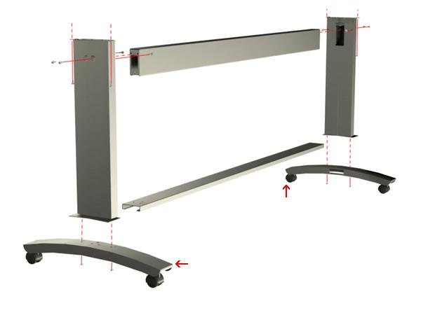 Foot assembly (includes casters) - Mounts to the bottom of the printer stand legs (two used)