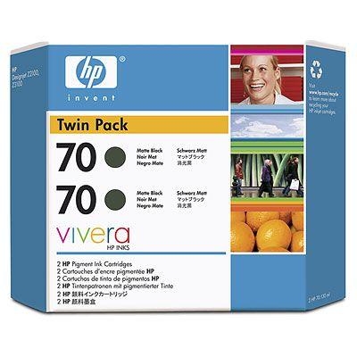 70 Twin Pack - 2-pack - matte black - original - ink cartridge - for DesignJet Z2100 Z2100 GP Z3100 Z3100 GP Z3100ps GP Z3200 Z3200ps Z5200 PostScript