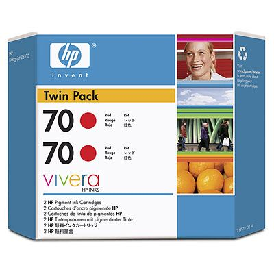 70 Red Ink Twin Pack - Includes two 70 Red ink cartridges each with a print volume of 130ml