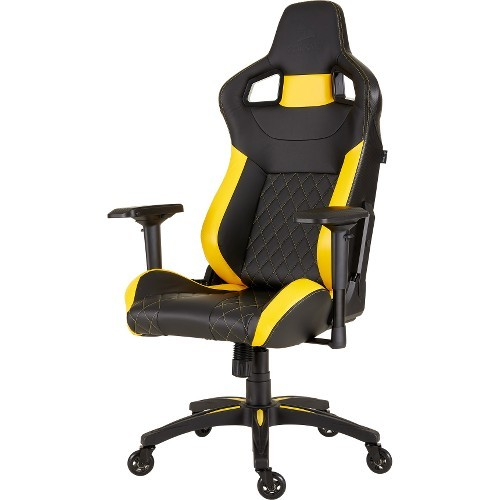T1 RACE GAMING CHAIR BLK/YLW HIGH BACK DESK/OFFICE