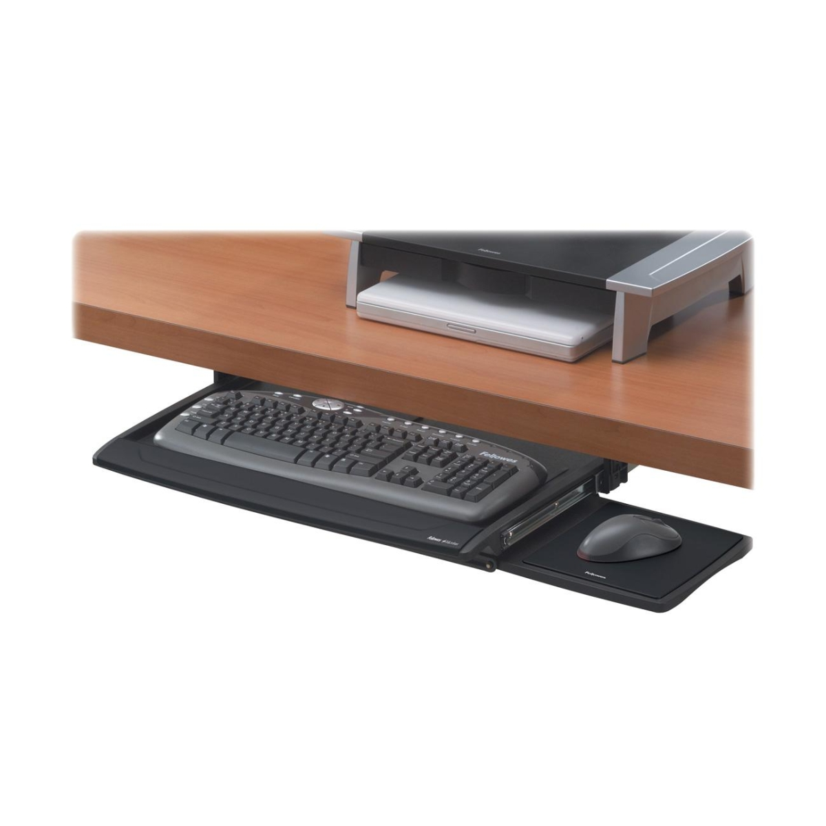 Office Suites Deluxe Keyboard Drawer - 2.5 inch x 30.9 inch x 14.1 inch - Silver
