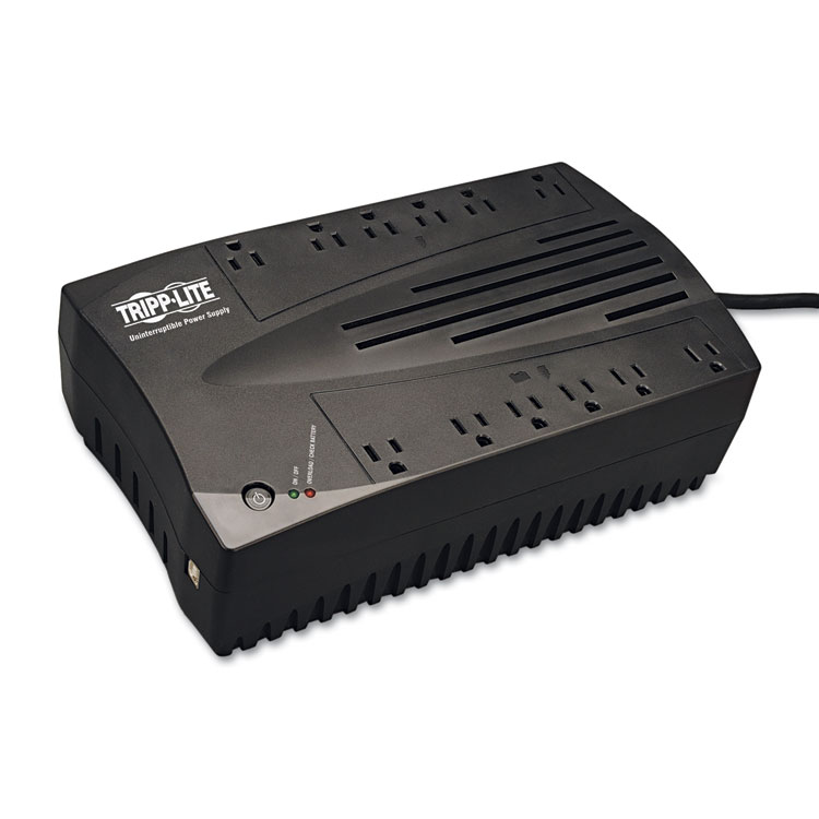 UPS 900VA LOW PROFILE LINE-INTERACTIVE AVR AUTOMATIC VOLTAGE REGULATION CORRECTS BROWNOUTS. MODEM/FAX PROTECTION USB PORT 12 OUTLETS 6UPS/SURGE & 6 SURGE ONLY