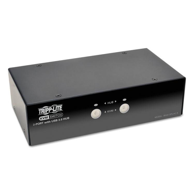 2-PORT DISPLAYPORT KVM SWITCH W/AUDIO CABLES AND USB 3.0 SUPERSPEED HUB