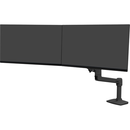 LX Desk Dual Direct Arm - Mounting kit (articulating arm desk clamp mount 2 pivots mounting hardware dual displays bow 7 inch post extension part) for 2 LCD displays - matte black - screen size: up to 25 inch - desktop