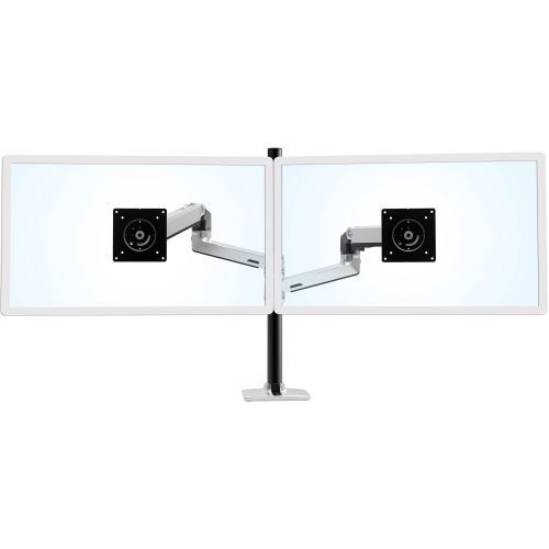 LX Dual Stacking Arm Tall Pole - Mounting kit (pole 2 articulating arms grommet plate mounting hardware desk clamp base 2 pole collars 2 caps) for 2 LCD displays - aluminum steel - silver with white accents - screen size: up to 40 inch - desk-mount