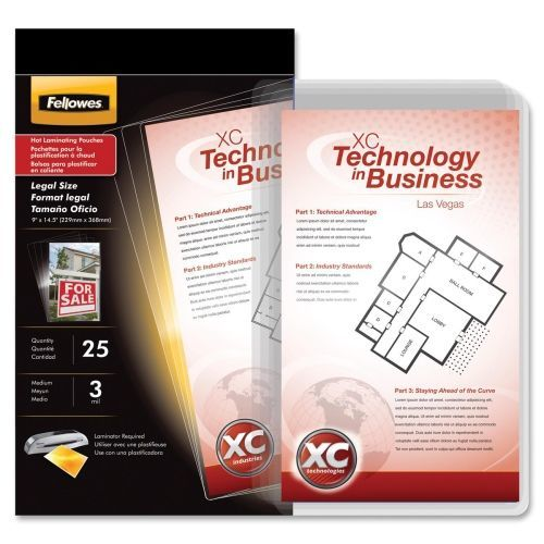 Glossy - 3 mil - 25-pack - clear - 9 in x 14.5 in lamination pouches