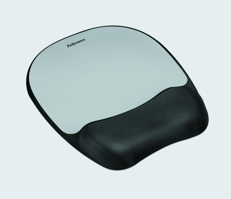 Memory foam Mouse Pad/Wrist Rest- Silver Streak - 9.3 inch x 7.9 inch x 1 inch Dimension - Silver - Memory Foam Jersey - Wear Resistant Tear Resistant