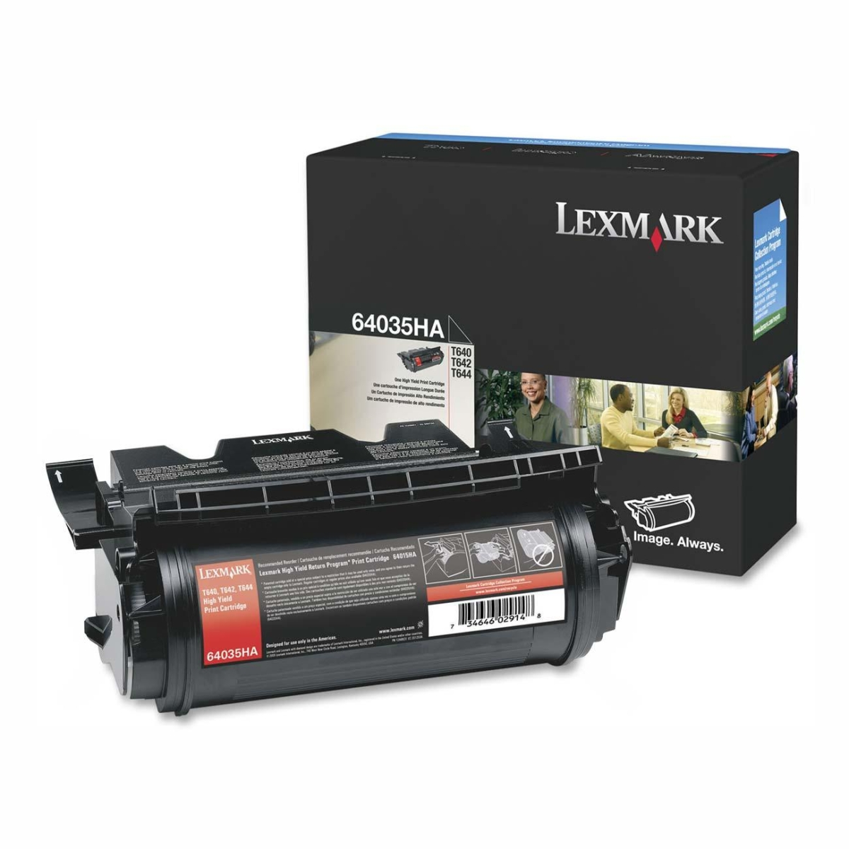 High Yield - black - original - toner cartridge LCCP - for Lexmark T640 T642 T644