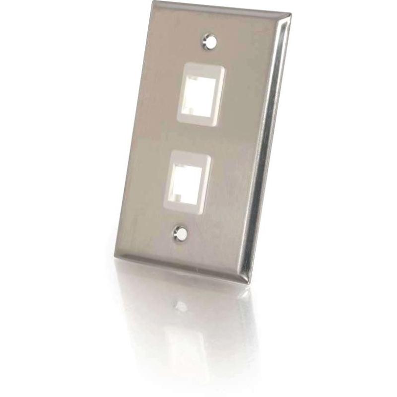 2-Port Single Gang Multimedia Keystone Wall Plate - Stainless Steel - 2 x Socket(s) - 1-gang