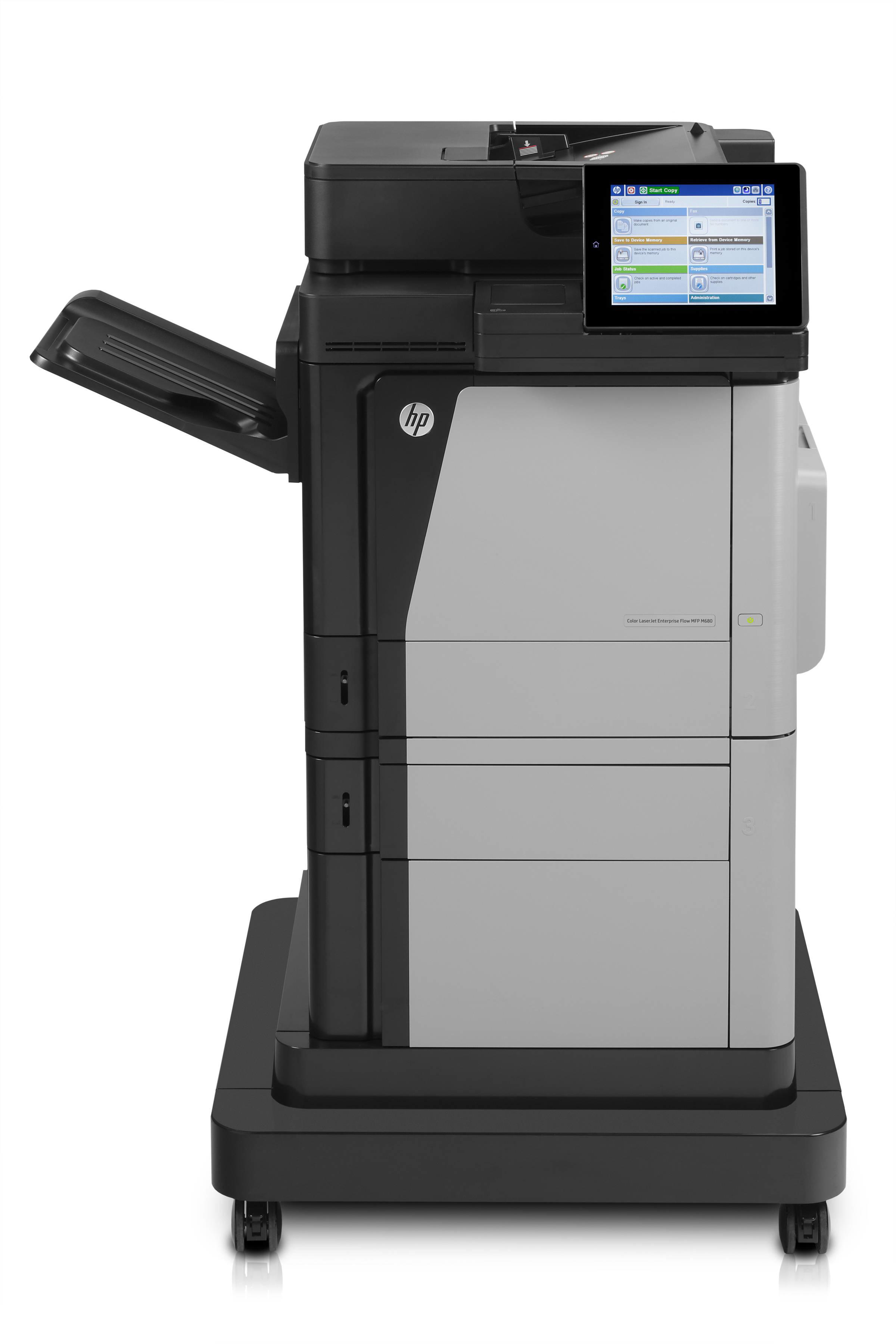 LaserJet M680F Laser Multifunction Printer - Color - Plain Paper Print - Desktop - Copier/Fax/Printer/Scanner - 45 ppm Mono/45 ppm Color Print - 1200 x 1200 dpi Print - 45 cpm Mono/45 cpm Color Copy - 8 inch Touchscreen - 600 dpi Optical Scan - Automatic
