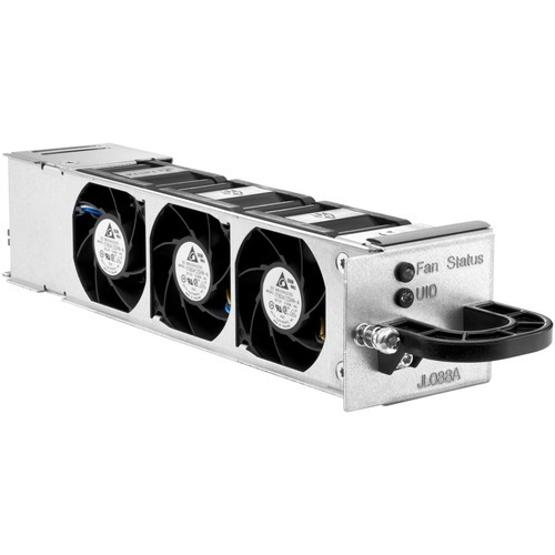 Aruba 3810 Switch Fan Tray Assembly - Includes the pull out tray assembly with status LED handle and three fans - Mounts on the left side (rear view) of the switch assembly chassis (next to the stacking module port)
