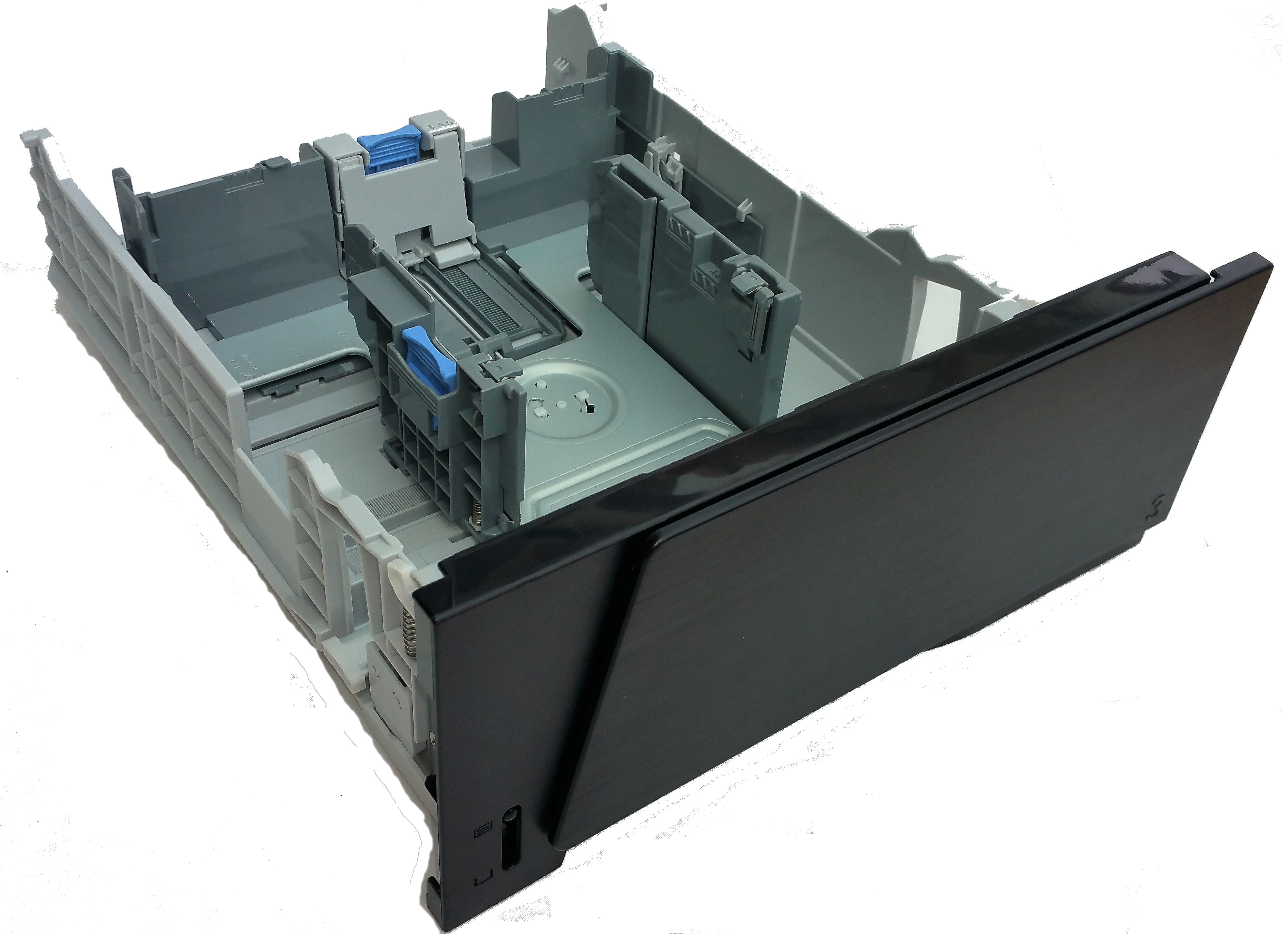 500-sheet paper tray/cassette for Optional tray 3 does not include feeder slot