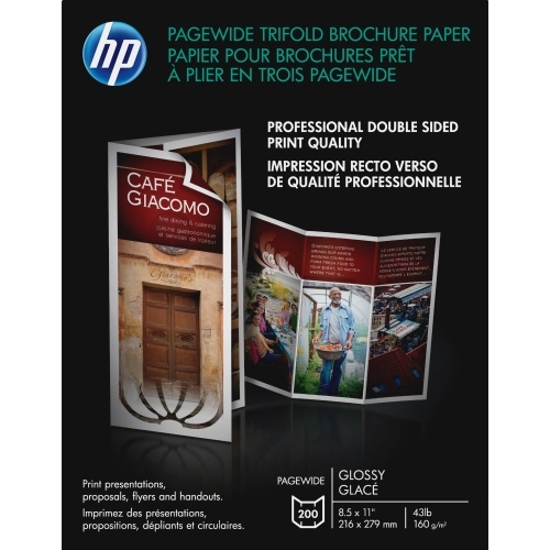 PageWide Double Sided Glossy Tri-Fold Brochure Paper (8.5 x 11) (200 Sheets/Pkg)