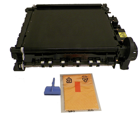 Color LaserJet 5500/5550 image transfer kit - Includes the Electrostatic Tranfer Belt (ETB) assembly - Mounts in the flip-down holder behind the front cover - Typical yield is 120 000 papges