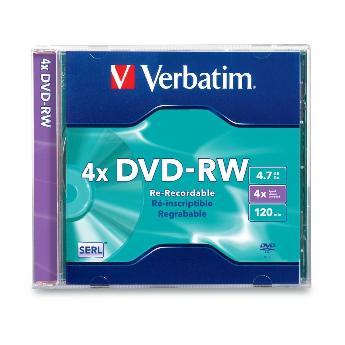 DVD-RW 4.7GB 4X with Branded Surface - 1pk Slim Case - 4.7GB - 1 Pack