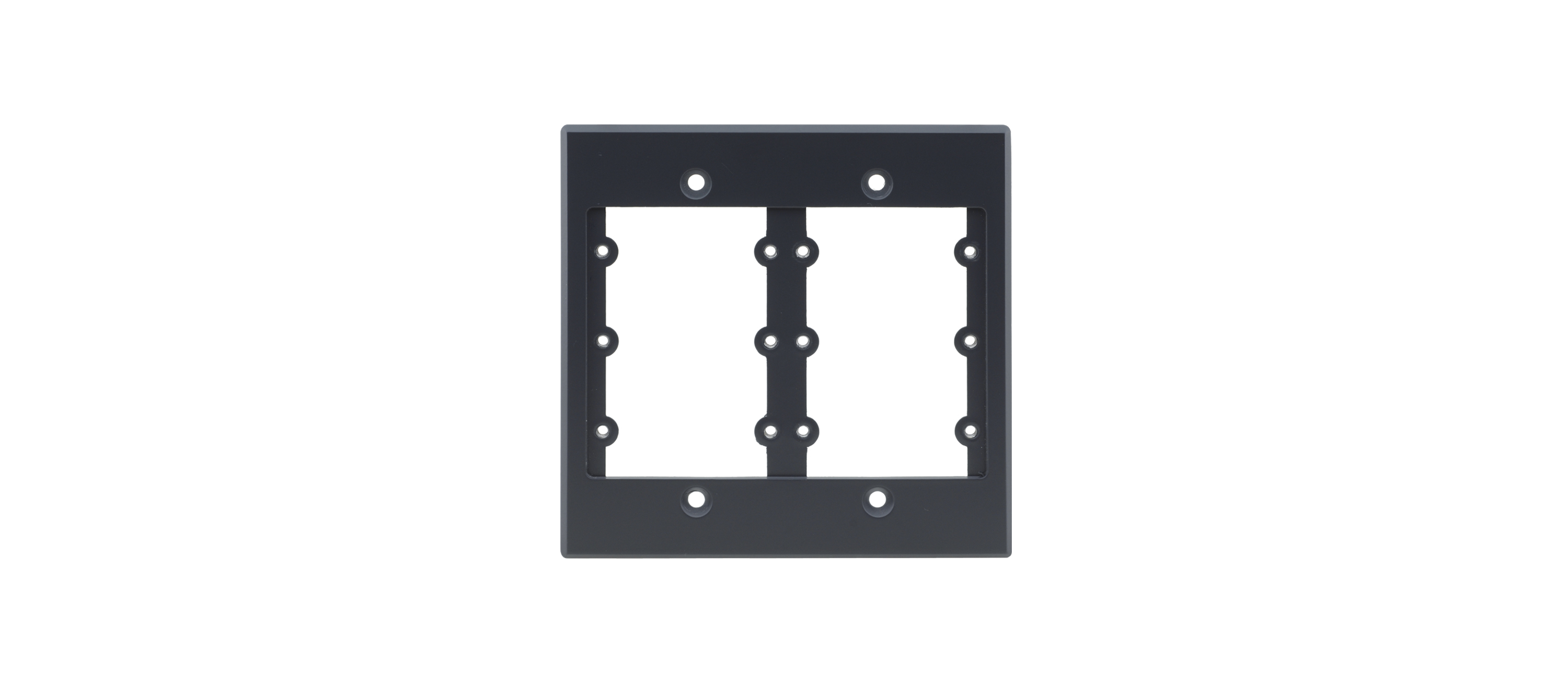 2GANG FRAME HOLDS 6WALL PLATE INSERTS.