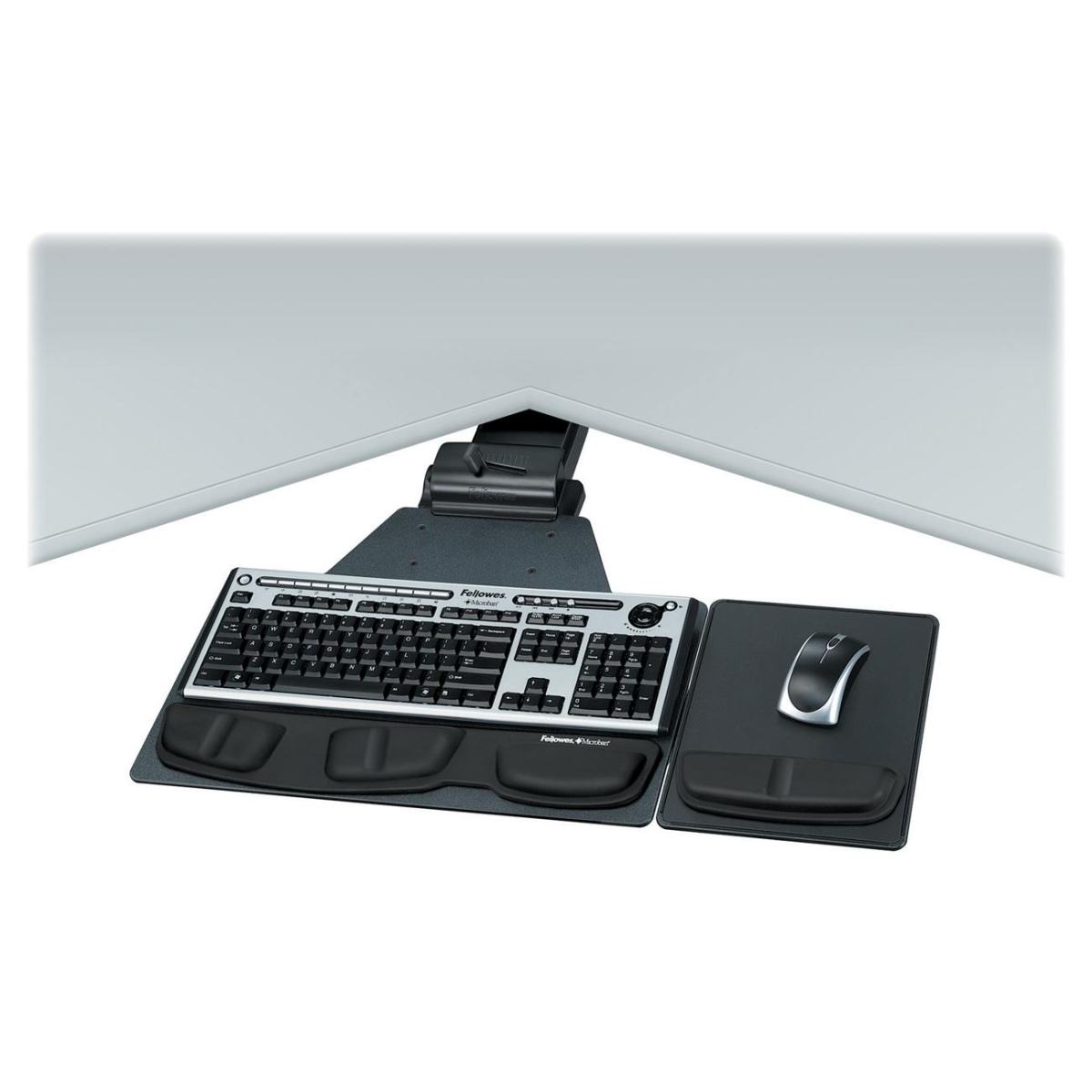 Professional Series Corner Executive Keyboard Tray - 5.8 inch x 28.2 inch x 21.3 inch - Black