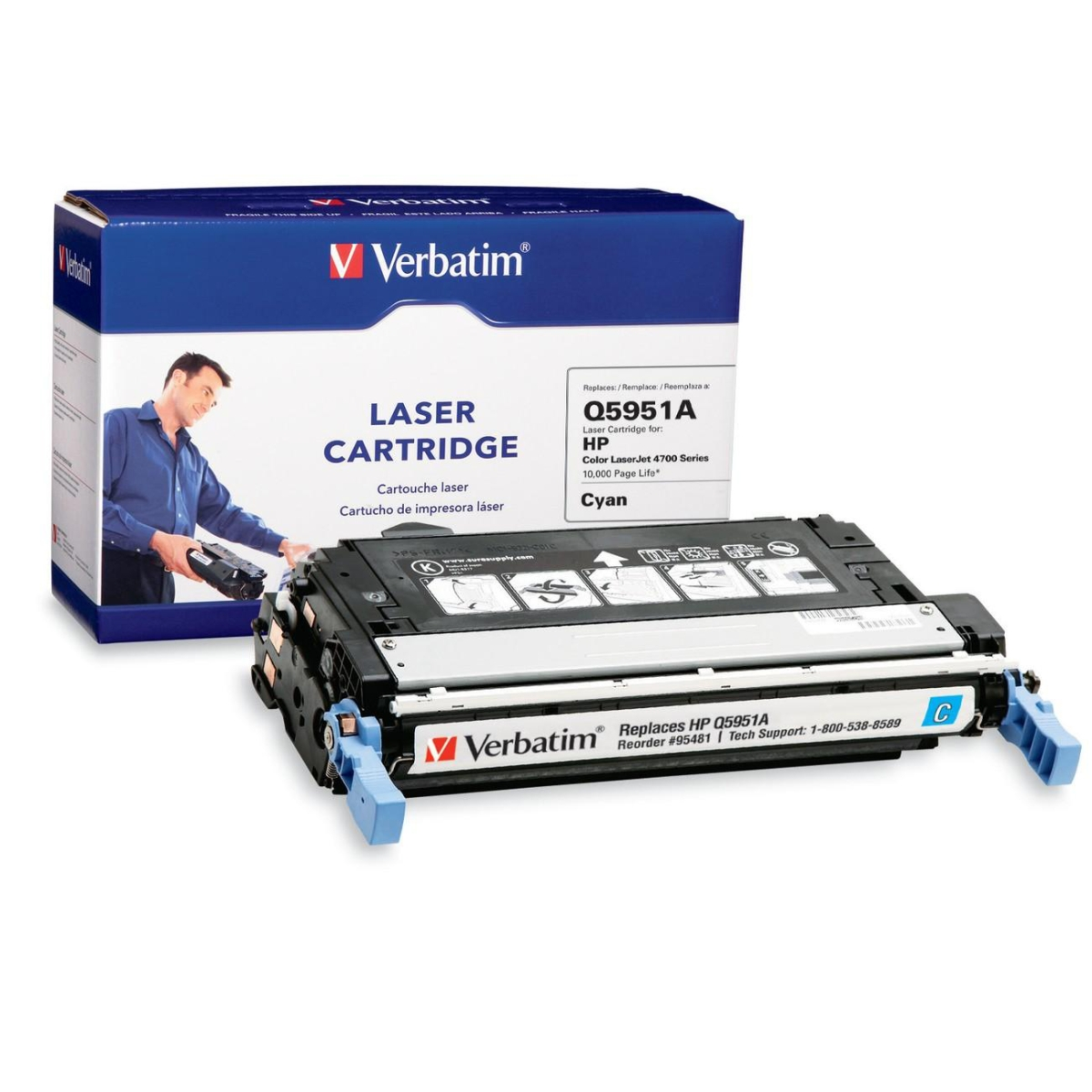 HP Q5951A Remanufactured Cyan Toner Cartridge for 4700 Series - Cyan - Laser - 10000 Page - OEM
