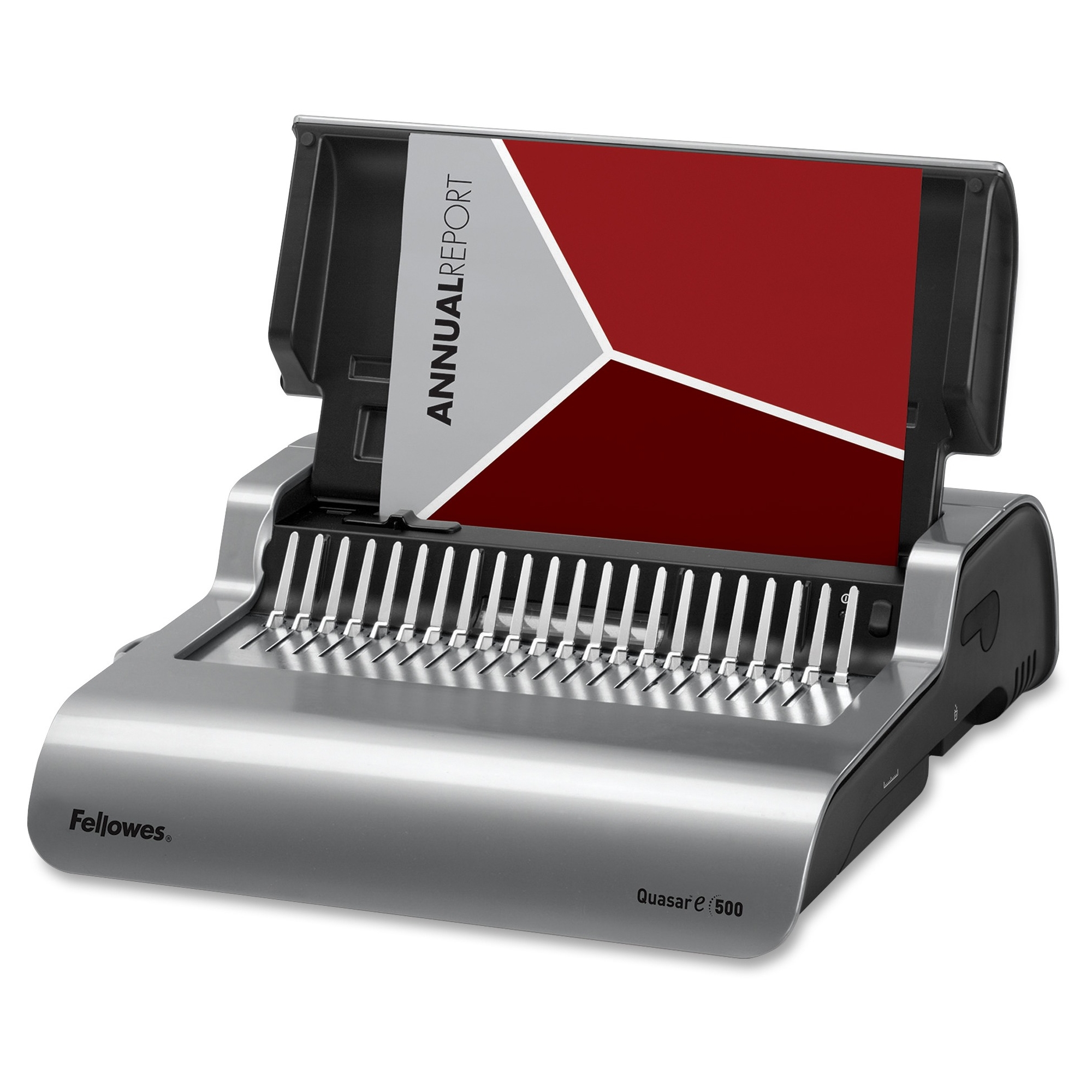 Quasar E 500 Electric Comb Binding Machine - Electrical - CombBind - 500 Sheet(s) Bind - 20 Punch - 5.1 inch x 16.9 inch x 15.4 inch - Gray