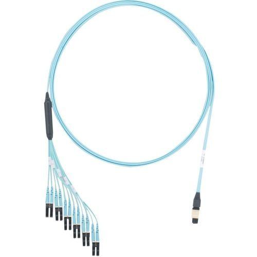 QuickNet PanMPO/MPO - Network cable - PanMPO multi-mode (F) to LC multi-mode (M) 61 cm breakout - 6.71 m - fiber optic - 50 / 125 micron - OM3 - molded plenum flat - aqua