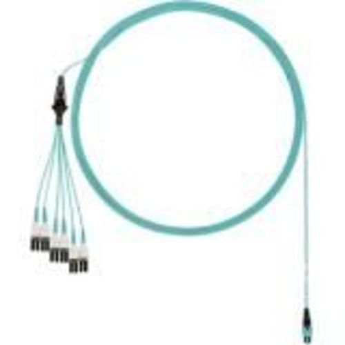 Network cable - PanMPO multi-mode (M) to LC multi-mode (M) uniboot staggered pairs 1 and 2 longest breakouts - 6.71 m - fiber optic - 50 / 125 micron - OM4 - indoor plenum round - aqua