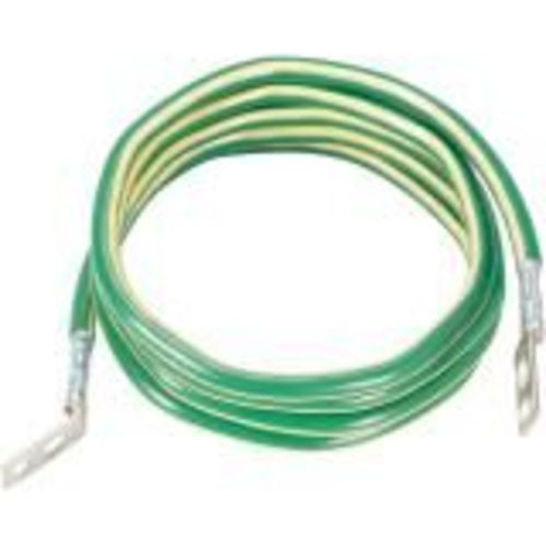 Ground cable - lug connector to lug connector - 10 ft - green with yellow stripe