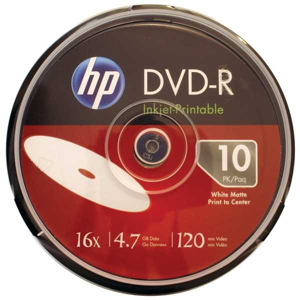 4.7GB 16x Printable DVD-Rs 10-ct Spindle