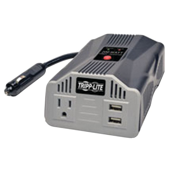 Ultra-Compact Car Inverter 200W 12V DC to 120V AC 2 USB Charging Ports 1 Outlet - DC to AC power inverter + battery charger - 12 V - 200 Watt - output connectors: 2