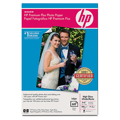 Premium Plus Photo Paper (High Gloss) - 10.2cm (4in) x 15.2cm (6in) without tab - 60 sheets